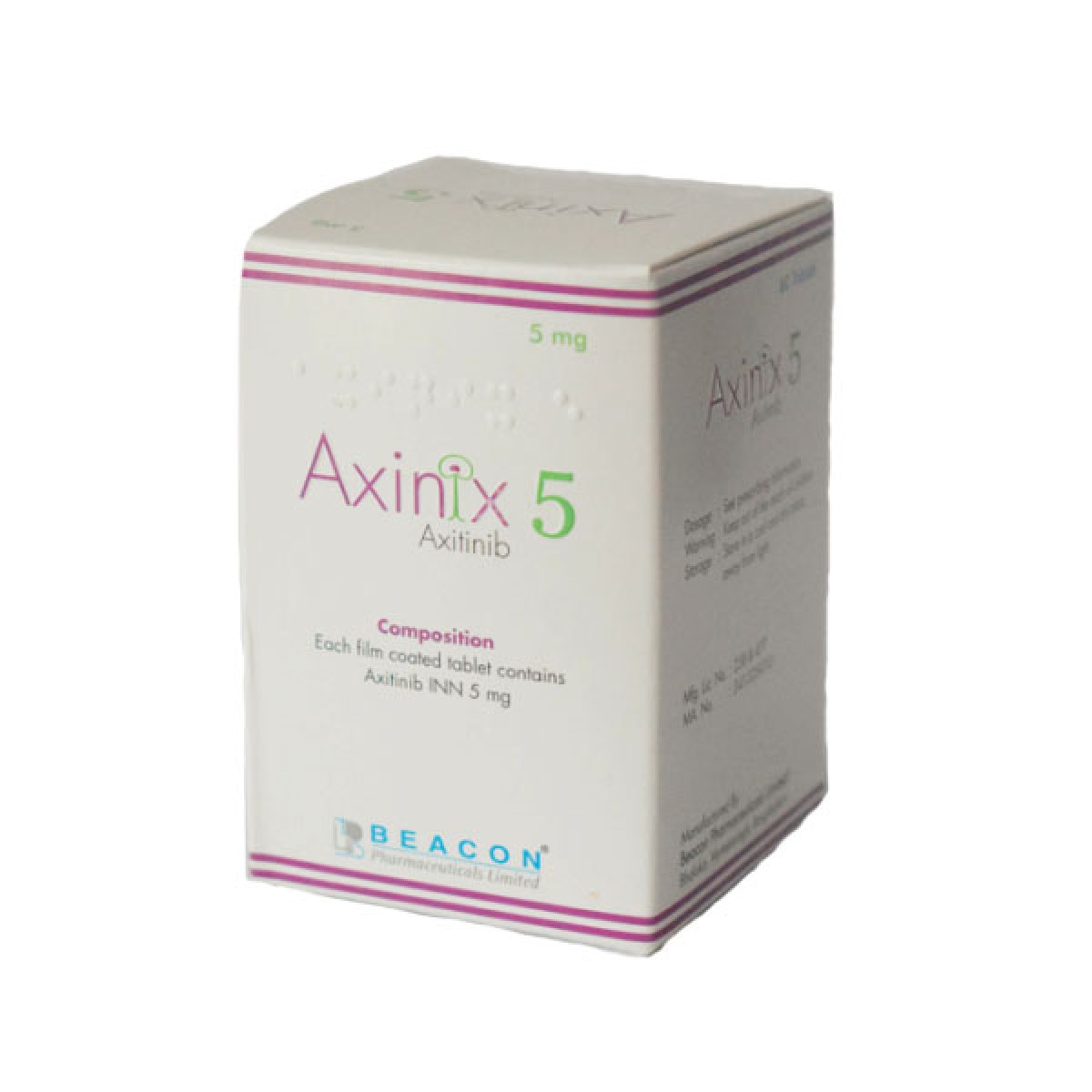 Axitinib  Axinix 5mg  ( Beacon )  阿昔替尼  阿西替尼 (英立達 )5mg